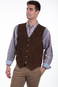 Scully Calf Suede Leather Western Vest - Brown - Men's Leather Western Vests and Jackets | Spur Western Wear