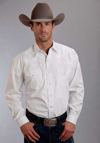 Stetson Poplin Long Sleeve Snap Front Western Shirt - White - Men's Western Shirts | Spur Western Wear
