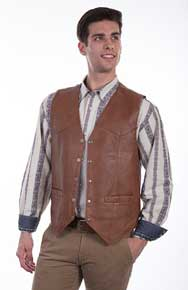 Scully Soft Touch Lambskin Vest – Saddle Tan - Men's Leather Western Vests and Jackets | Spur Western Wear