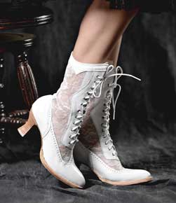 Oak Tree Farms Elegant Lace up Jennie Wedding Boot - White - Ladies Western Boots | Spur Western Wear