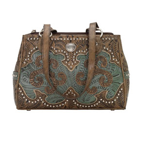 American West Annie's Secret Concealed Carry Tote - Turquoise & Brown - Ladies' Western Handbags And Wallets | Spur Western Wear