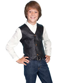 Scully Lambskin Vest - Black - Boys' Old West Vests and Jackets | Spur Western Wear