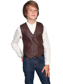 Scully Lambskin Vest - Brown - Boys' Old West Vests and Jackets | Spur Western Wear