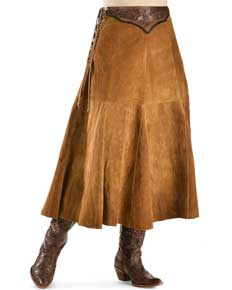 "Kobler ""Chactow"" Leather Skirt - Brown - Ladies' Western Skirts And Dresses 