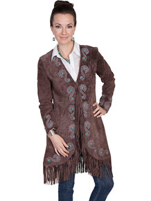 Scully Boar Suede Embroidered Leather Jacket - Expresso - Ladies Leather Jackets | Spur Western Wear