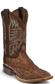 Justin Josiah Full Quill Ostrich Western Boot - Dark Brown - Men's Western Boots | Spur Western Wear