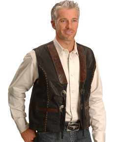 Kobler Hand-Tooled Leather Western Vest - Black - Men's Leather Western Vests and Jackets | Spur Western Wear