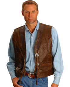 Kobler Hand-Tooled Leather Western Vest - Acorn - Men's Leather Western Vests and Jackets | Spur Western Wear