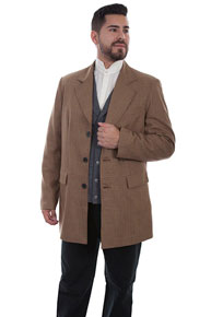 Wah Maker Plaid Town Coat - Tan - Men's Old West Vests And Jackets | Spur Western Wear