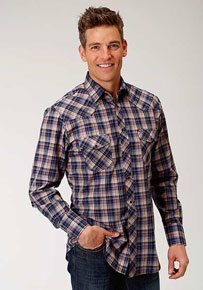 Roper Plaid Long Sleeve Snap Front Western Shirt - Royal Blue & Tan - Men's Western Shirts | Spur Western Wear