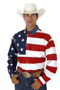 Roper American Flag Long Sleeve Button Front Western Shirt - Men's Western Shirts | Spur Western Wear