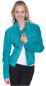 Scully Boar Suede Leather Jean Jacket - Turquoise - Ladies Leather Jackets | Spur Western Wear