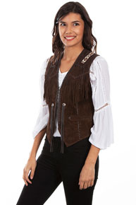 Scully Bead Trimmed Suede Leather Vest - Expresso - Ladies Leather Vests And Jackets | Spur Western Wear