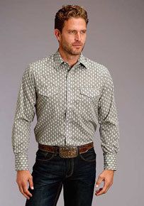 Roper Paisley Print Long Sleeve Snap Front Western Shirt - Grey - Men's Western Shirts | Spur Western Wear