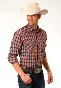 Roper Plaid Long Sleeve Snap Front Western Shirt - Rust & Navy - Men's Western Shirts | Spur Western Wear