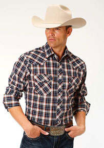 Roper Plaid Long Sleeve Snap Front Western Shirt - Navy & Orange - Men's Western Shirts | Spur Western Wear