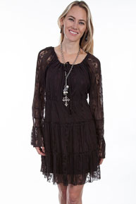 Scully Honey Creek Lace Dress - Chocolate - Ladies' Western Skirts And Dresses | Spur Western Wear
