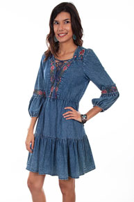 Scully Honey Creek Denim Dress - Blue - Ladies' Western Skirts And Dresses | Spur Western Wear