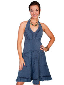 Scully Halter Dress - Blue - Ladies' Western Skirts And Dresses | Spur Western Wear