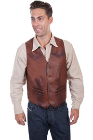 Scully Two-Tone Leather Western Vest - Brown - Men's Leather Western Vests and Jackets | Spur Western Wear
