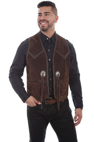 Scully Boar Suede Concho Western Vest - Expresso - Men's Leather Western Vests and Jackets | Spur Western Wear