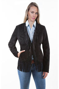 Scully Boar Suede Leather Western Jacket - Black - Ladies Leather Jackets | Spur Western Wear