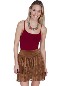 Scully Boar Suede Leather Skirt - Cinnamon - Ladies' Western Skirts And Dresses | Spur Western Wear