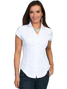 Scully Capsleeve Blouse - White - Ladies' Western Shirts | Spur Western Wear
