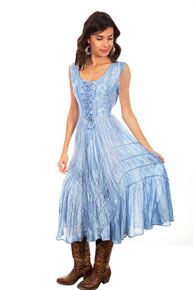 Scully Honey Creek Lace Front Dress - Sky - Ladies' Western Skirts And Dresses | Spur Western Wear