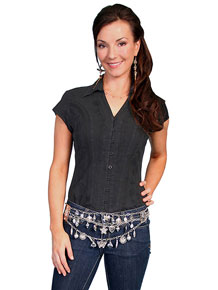 Scully Capsleeve Blouse - Black - Ladies' Western Shirts | Spur Western Wear