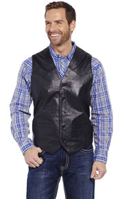 Cripple Creek Button Front Lamb Leather Western Vest - Black - Men's Leather Western Vests and Jackets | Spur Western Wear