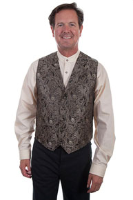 Scully Notched Collar Scroll Pattern Vest - Brown - Men's Old West Vests and Jackets | Spur Western Wear