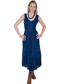 Scully Honey Creek Lace Front Dress - Blue - Ladies' Western Skirts And Dresses | Spur Western Wear
