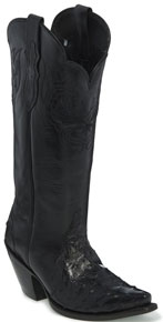 Justin Chelsea Full Quill Ostrich Western Boot - Black - Ladies' Western Boots | Spur Western Wear