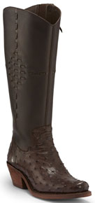 Justin McCalester Full Quill Ostrich Western Boot - Nicotene - Ladies' Western Boots | Spur Western Wear