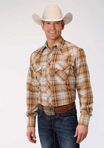 Roper Plaid Long Sleeve Snap Front Western Shirt - Rust & Cream - Men's Western Shirts | Spur Western Wear