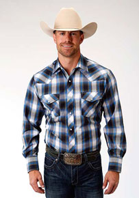 Roper Plaid Long Sleeve Snap Front Western Shirt - Blue, Navy & Olive - Men's Western Shirts | Spur Western Wear