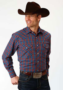 Roper Plaid Long Sleeve Snap Front Western Shirt - Royal & Red - Men's Western Shirts | Spur Western Wear