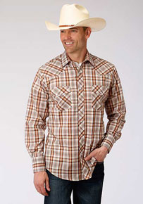 Roper Plaid Long Sleeve Snap Front Western Shirt - Brown, Rust & Cream - Men's Western Shirts | Spur Western Wear