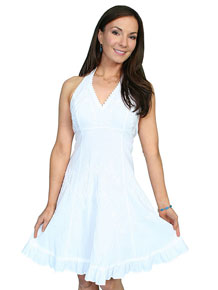 Scully Halter Dress - White - Ladies' Western Skirts And Dresses | Spur Western Wear