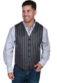 This Scully Stripe Vest In Black Features No Lapels, A Button Front And Four Welt Pockets. Adjustable Back Strap.  - Men's Old West Vests And Jackets | Spur Western Wear