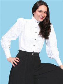 Wah Maker Jennie Victorian Blouse - White - Ladies' Old West Blouses | Spur Western Wear