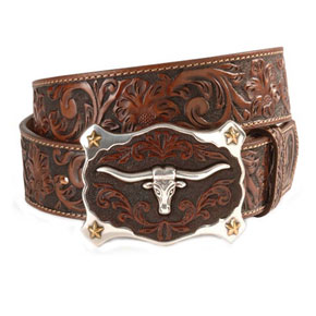 Justin Longhorn Buckle Leather Belt