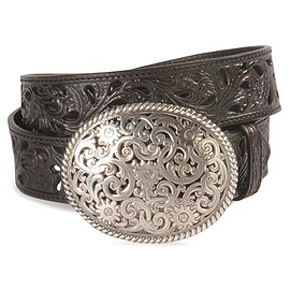 Tony Lama Floral Filigree Ladies Belt-Black