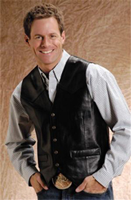 Roper Lamb Leather Western Vest - Black - Men's Leather Western Vests and Jackets | Spur Western Wear