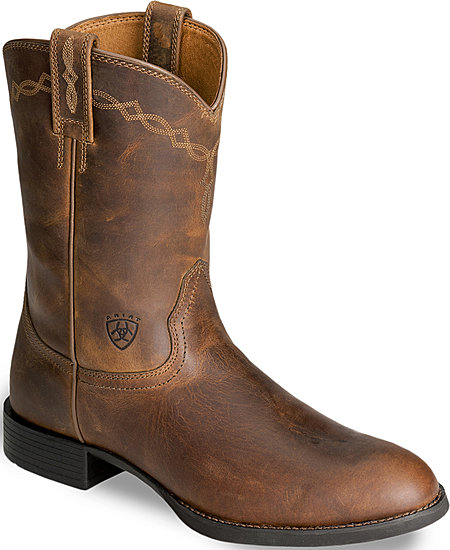 Ariat® Heritage Roper Western Boot - Distressed Brown - Men's Western Boots | Spur Western Wear