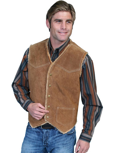 Scully Boar Suede Faux Shearling Lined Vest - Cafe Brown - Men's Leather Western Vests and Jackets | Spur Western Wear