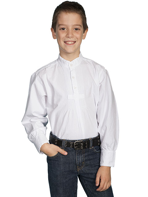Scully Pullover Gambler Shirt - White - Boys' Old West Shirts | Spur Western Wear