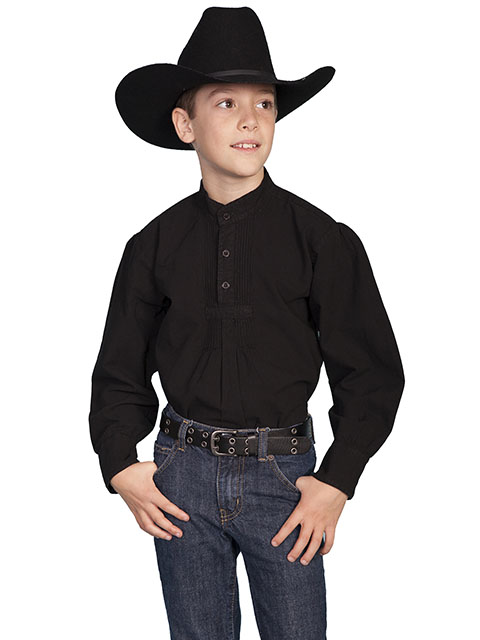 Scully Pullover Gambler Shirt - Black - Boys' Old West Shirts | Spur Western Wear