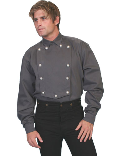 Wah Maker Bib Front Shirt – Silver Tone Button – Grey - Men's Old West Shirts | Spur Western Wear